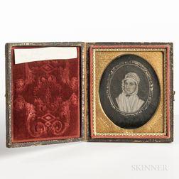 Sixth-plate Daguerreotype of a Miniature Oval Folk Portrait