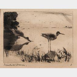 Frank Weston Benson (American, 1862-1951)      Pair of Yellowlegs