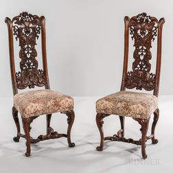 Set of Twelve Walnut Side Chairs in the Style of Daniel Marot