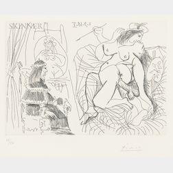 Pablo Picasso (Spanish, 1881-1973)      Raphaël et la Fornarina XI: Le Pape est bouche bée dans son fauteuil
