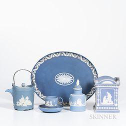 Five Early Blue Jasper Items