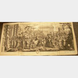Unframed Engraving by Gerald Audran After Charles le Brun Entitled The   Triumphal Entry of Constantine into Rome