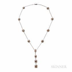 Colored Diamond and Diamond Necklace