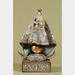 Spanish Colonial Painted and Carved Figure of the Madonna