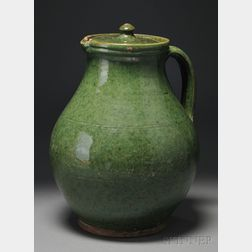 Green-glazed Covered Redware Pitcher
