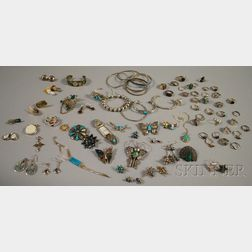 Large Group of Silver and Silver-tone Jewelry