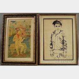 Two Framed Prints:      Moshe Gat (Israeli, b. 1935), Standing Boy, Three-quarter Length View