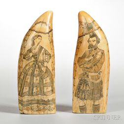 Two Scrimshaw and Polychrome-decorated Whale's Teeth