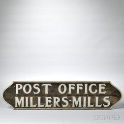 "Carved and Painted ""POST OFFICE"" Sign"
