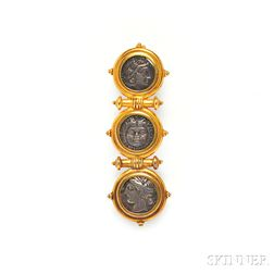 Archeological Revival Gold and Ancient Silver Coin Brooch