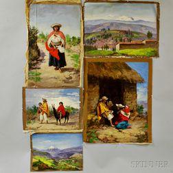 Cesar Villacres (Ecuadorian, 1880-1941)      Five Unstretched Oils on Canvas:   Cost. indians - Prov. del Tungurahua