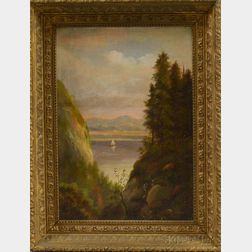 Hudson River Valley School, 19th Century       River Scene with a Sailboat.