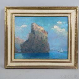 Tito Cittadini Podesta (Argentine, 1886-1960)      Mountainous Coastal Scene with Sailboats