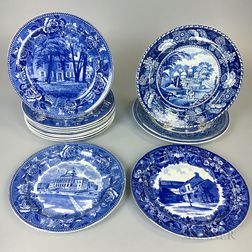 Fourteen Wedgwood Blue and White Transfer-decorated Ceramic Plates