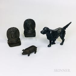 Cast Metal Pointer and Pig Doorstops and a Pair of Native American Bookends.     Estimate $200-300