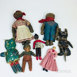 Seven Cloth and Leather Dolls