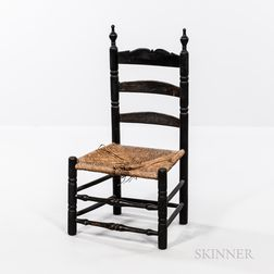 Small Black-painted Slat-back Side Chair