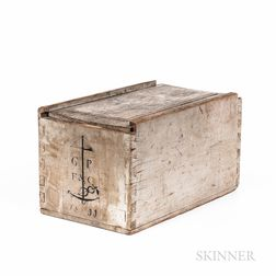 Large Gray-painted and Anchor-decorated Slide-lid Box