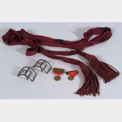 Pair of Colonial Shoe Buckles, a Civil War Era Sash, and a Pair of Harvard University Medals