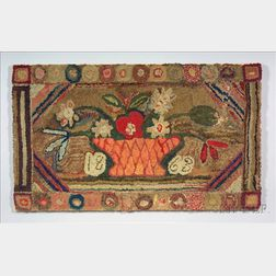 Large Wool and Cotton Hooked Rug with Basket of Flowers
