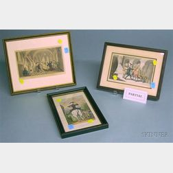 Twelve Framed Rowlandson Hand-colored Dr. Syntax and Other Lithographs