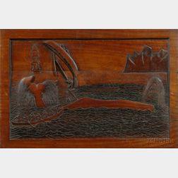 Relief Carved Mahogany Whaling Scene