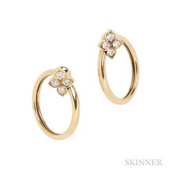 18kt Gold and Diamond Earclips, Cartier