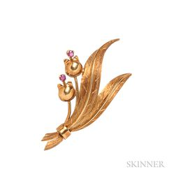 18kt Gold and Ruby Flower Brooch, Tiffany & Co.