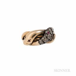 Gold and Diamond Snake Ring