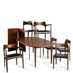 Scandinavian Design Dining Table and Six Chairs