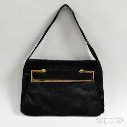 Gianni Versace Black Calfskin Handbag