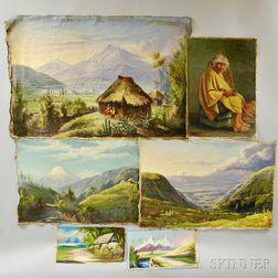 Ecuadorian School, 20th Century      Six Unstretched Oils on Canvas:   Three Andean Views