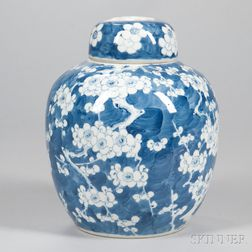 Blue and White Hawthorne Jar and Cover