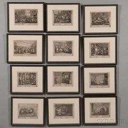 William Hogarth (British, 1697-1764)      Industry and Idleness  / A Series of Twelve Framed Engravings