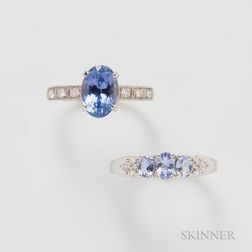 Two Gold and Tanzanite Rings