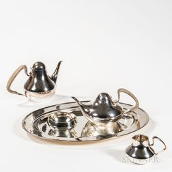 Four-piece Henning Koppel (Danish, 1918-1981) for Georg Jensen Tea and Coffee Set with a Tiffany & Co. Tray