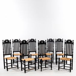 Assembled Set of Eight Bench-made Black-painted Heart and Crown Bannister-back Side Chairs