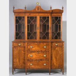 Federal Mahogany and Mahogany Veneer Inlaid Glazed Gentleman's Secretary