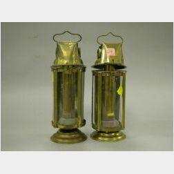 Pair of Adjustable Brass Lanterns.