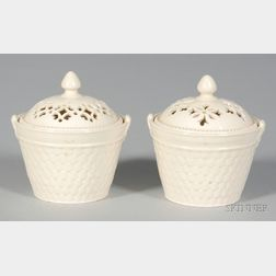Two Similar Creamware Pots and Covers