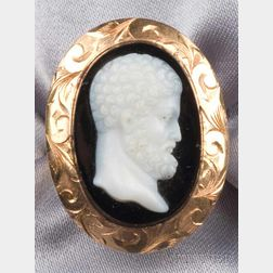 14kt Gold and Onyx Cameo Ring