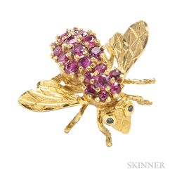 18kt Gold and Ruby Brooch