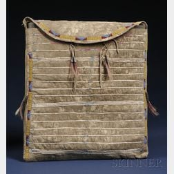 Plains Beaded and Quilled Buffalo Hide Possible Bag