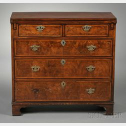 Georgian Burl Walnut Bachelor's Chest