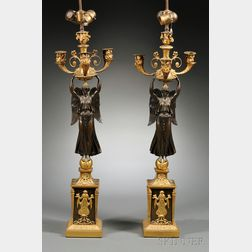 Pair of Empire-style Ormolu and Bronze Figural Candelabra