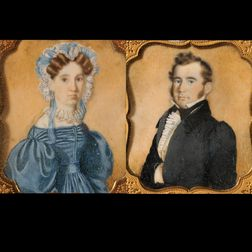Esteria Butler (American, 1814-1891) Pair of Portrait Miniatures of the Artists Sister and Brother-in-Law, Almira and James B. Fillebr