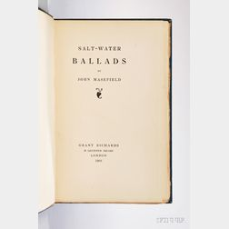 Masefield, John (1878-1967) Salt Water Ballads,   Signed Author's Presentation Copy.