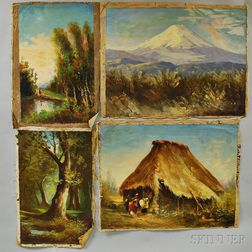 Ecuadorian School, 20th Century Ten Unstretched Landscape Oils: El Cotopaxi-(antigua carretera), Cotopaxi, Vista de los Chillos, Los Ch