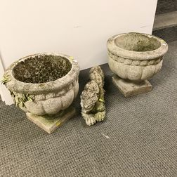 Pair of Cast Stone Garden Urns and a Chinese-style Dragon