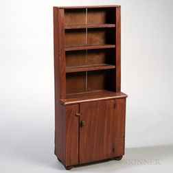 Red Grain-painted Pine Child's Step-back Cupboard